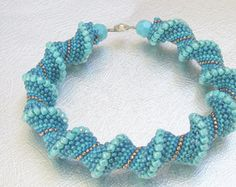 teal cellini bracelet red beaded jewelry by beadnurse on Etsy