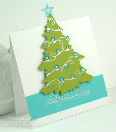 Handmade Christmas tree card in green and aqua. The die cut tree has been popped up for dimension, and the top is taller than the card for a unique look. Christmas Tree Cards, Xmas Cards, Christmas Photos, Holiday Cards, Christmas Holidays, Christmas Crafts, Christmas Decorations, Blue Christmas, Beautiful Christmas