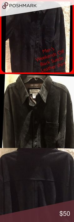💪🏻Men' Suede Leather Shirt, New w/o Tags Large Handsome, Men's Suede Leather Weekendz Off Shirt!  Wear it in-tucked as a shirt or jacket over a shirt sz Large color Black sueded Leather. Pd. 99.00 Weekendz Off Shirts Dress Shirts