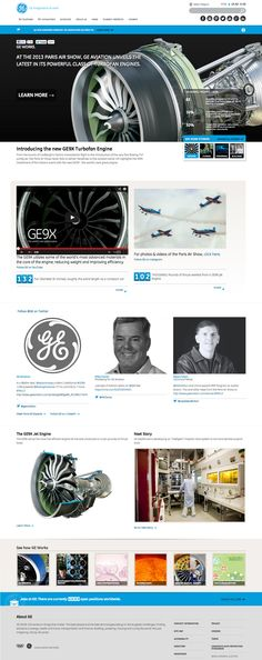 Responsive Website Layout for General Electric - Desktop view