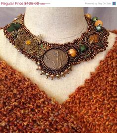 ON SALE Bead Embroidered Collar  Steampunk by bjswearableart, $75.00