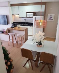 43 Amazing Small First Apartment Decorating Ideas ~ Ideas for House Renovations Living Room Kitchen, Kitchen Decor, Kitchen Design, Kitchen Ideas, Dining Room, First Apartment Decorating, Home Design Decor, Home Decor, Interior Design