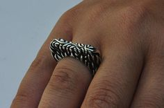 Ring sterling silver 925 oxidized blacken hand crafted