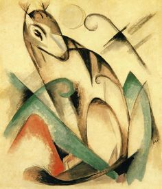 Franz Marc, Seated Mythical Animal, 1913