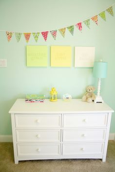 Project Nursery - Girl Nest Nursery Changer. Love this paint color:  Lazy Days by Valspar