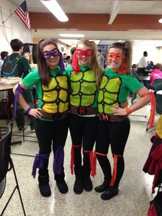 Cool homemade ninja turtles costume for a group of girls halloween i need to remember the arm and leg ribbons more information more information homemade teenage mutant ninja turtles costume solutioingenieria Image collections