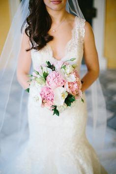 William Aiken, Bride, Pink and White Bouquet, Peoines, Orchids, lisanthus, A.Caldwell Events Planner, Tiger Lily Weddings Florist, Clay Austin Photography, Charleston SC