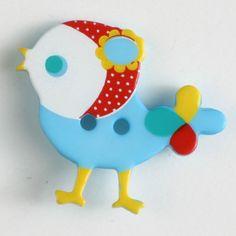 polyamide button, bird, 2 holes Size: 25mm Color: blue-330878-34