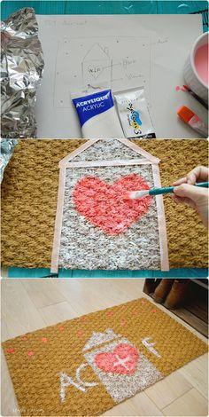 DIY paillasson personnalisé - DIY personalized doormat - Happy Chantilly