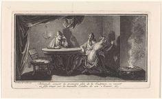 Bernard Picart   Ontdekking van de beeldhouwkunst, Bernard Picart, 1727   Debutades tekent de contouren van de schaduw van haar geliefde op de muur. Haar vader Butades, een pottenbakker uit Sicyon, ontdekt zo de kunst van het beeldhouwen. (Een variant op het verhaal van de ontdekking van de tekenkunst.) In de marge een tweeregelig onderschrift in het Frans.