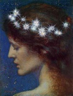 Night by Edward Robert Hughes While stalking this pre-raphaelite painter obsessed with symbolism - this time around - I came across the pain. Edward Robert Hughes, Art And Illustration, Moritz Von Schwind, John Everett Millais, Star Goddess, Celtic Goddess, Pre Raphaelite Brotherhood, Gods And Goddesses, Stars And Moon