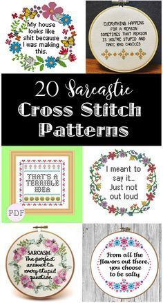 20 Sarcastic Cross Stitch Patterns (PG, PG-13 and R Rated) These are so funny! I love snarky embroidery.. and I want to make these!