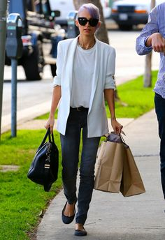 Nicole Richie wearing Givenchy Antigonia bag Jennifer Meyer Mini Inlay Triangle with Diamond Stud Earrings Genetic Denim Shya cigarette skinny jeans in gaze House of Harlow 1960 textured link necklace