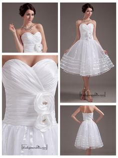 BEAUTIFUL TAFFETA & ORGANZA & TULLE & MERCERIZED BELT A-LINE SWEETHEART TEA LENGTH WEDDING DRESS