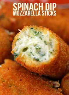 Spinach Dip Mozzarella Sticks Could bake these....