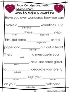 esl valentine day writing
