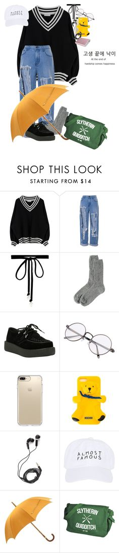 """""""F A M O U S ?"""" by btstrash13 ❤ liked on Polyvore featuring Joomi Lim, Toast, T.U.K., Speck, Moschino, DEOS, Nasaseasons and Hermès"""