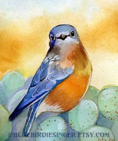 Items similar to Bluebird de printemps avec oeufs aquarelle impression 5 x 7 on Etsy                                                                                                                                                                                 Plus