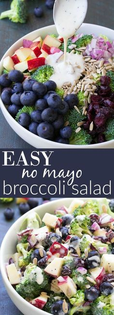 Best Ever No Mayo Broccoli Salad with Blueberries and Apple! This healthy and easy side dish has a creamy poppy seed dressing, cranberries, and sunflower seeds. It will be the hit of your summer BBQ o (Paleo Apple Recipes) Healthy Salads, Healthy Eating, Healthy Recipes, Healthy Mayo, Bbq Salads, Vegan Mayo, Easy Recipes, Healthy Sides, Broccoli Recipes Side Dish Healthy