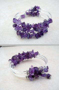 Amethyst coil bracelet - memory wire, natural stone beads, silver-plated spacers & tubes . . . ღTrish W ~ http://www.pinterest.com/trishw/ . . . #handmade #jewelry #cuff_bracelet