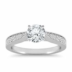 Cathedral Pavé Diamond Engagement Ring in 18k White Gold   The Diamond Channel