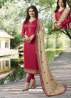 9d25fb4ca0 Crimson Embroidered Satin Georgette Designer Churidar Suit