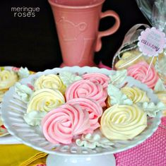 Meringue Roses {Mother's Day or Teachers Appreciation} - Shugary Sweets . This recipe sounds like a winner. Mothers Day Desserts, Just Desserts, Delicious Desserts, Dessert Recipes, Fancy Desserts, Candy Recipes, Cookie Recipes, Rose Cookies, Meringue Cookies