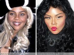 Lil Kim Plastic Surgery Before and After.I just found out about lil kim doing this.she looks terrible! Lil Kim Plastic Surgery, Plastic Surgery Quotes, Plastic Surgery Before After, Plastic Surgery Procedures, Celebrity Plastic Surgery, Kim Before And After, Celebrities Before And After, Celebrities Then And Now, Photoshop