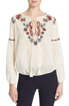 TORY BURCH Embroidered Peasant Top. #toryburch #cloth #