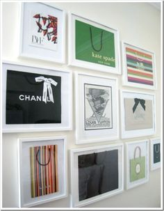 Designer shopping bags as wall art. I should do this ASAP. So chic.