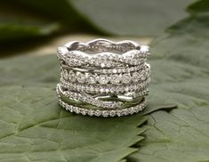 Stack-able wedding rings. Perfect since my hands are in gloves constantly. No snagging!