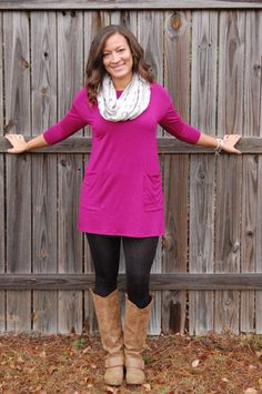 Button Back Tunic/Dress - Magenta (Large) – Pockets and Lace Boutique. 1 left in large! Also available in teal. Perfect to transition into spring!!