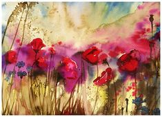 Poppies.  Original Watercolor Painting. 32x24 cm flowers