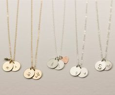 Mother's Day Gift Personalized Delicate SMALL DISC Necklace / Monogram Necklace Dainty Tags / Initial Necklace, LN209.2 by LayeredAndLong on Etsy https://www.etsy.com/listing/229814180/mothers-day-gift-personalized-delicate