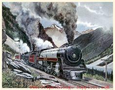 Travel Ads, Train Travel, Train Drawing, Old Steam Train, Railroad History, Train Art, Train Pictures, Historical Art, Steam Engine