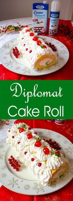 Rulada diplomat - diplomat cake roll, a classic Romanian dessert with whipped cr. - Rulada diplomat – diplomat cake roll, a classic Romanian dessert with whipped cream and fruits. Best Dessert Recipes, Fruit Recipes, Fun Desserts, Cake Recipes, Romanian Desserts, Romanian Food, Romanian Recipes, Sicilian Recipes, Greek Recipes