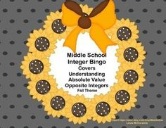 Looking for an engaging way to review? This Bingo Game with a fall theme is just what you need.This game provides a great review on understanding, absolute value, and opposite integers.Contents40 Bingo Cards50 Calling Cards 10 Blank Bingo CardsSheet of 16 Blank Calling CardsYou can run the cards off on cardstock, cut to size, and laminate them for a permanent game solution.