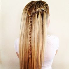 straight hair with waterfall braid
