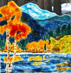 Majestic Mountains Surround a Glacial Lake by JudiHartmanGLASSART, $295.00