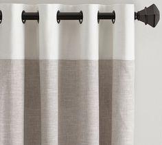 Emery Border Linen Drape, 50 x Oatmeal/Ivory At Pottery Barn - Rugs & Windows - Drapes & Curtains - Linen Grey Blackout Curtains, Neutral Curtains, Sheer Linen Curtains, Cotton Curtains, Grommet Curtains, Drapes Curtains, Bedroom Curtains, Silk Drapes, Bed Linen