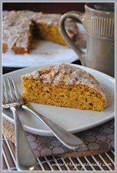 Pumpkin Coffee Cake with Cinnamon Streusel from www.shugarysweets.com