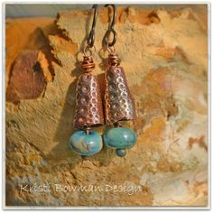 Copper Sea Bells with Lampwork Dangle by KristiBowmanDesign. $35.00, via Etsy.