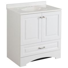 Glacier Bay, Lancaster 30 in. Vanity in White with Alpine Vanity Top in White, LC30P2COM-WH at The Home Depot - Mobile