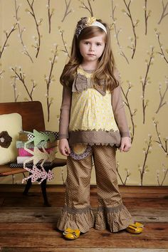 Adelaide Top ( Baby Yellow Sage) & Kashmir Pant   Adelaide Top Size: 4, 5, 6, 7  Kashmir Pant Size: 4, 5, 6, 7  Visit our Facebook page with any questions http://www.facebook.com/LollipopsChildrensBoutique1#!/LollipopsChildrensBoutique1