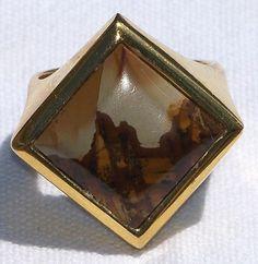Modernist Landscape Jasper Man's Ring Sterling Silver with Gold Vermeil
