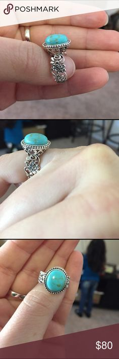 925 artisan ring This is a new 925 Sterling silver turquoise ring made with a beautiful detailed gallery and the sidebands have intricate flower design this ring is beautiful Jewelry Rings