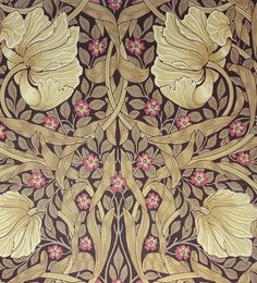 Pimpernel Wallpaper Classic floral wallpaper with windblown flower heads in dark beige and cerise with taupe leaves on a dark chocolate background.
