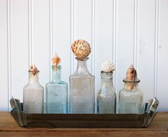 Add vintage bottles topped with seashore finds to your beach retreat. Wish I had a beach retreat to do this! Apothecary Bottles, Altered Bottles, Bottles And Jars, Seaside Decor, Beach House Decor, Coastal Decor, Beach Crafts, Diy Crafts, Beach Design