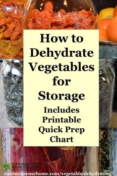 Vegetable Dehydrating How to Dry Vegetables for Storage is part of Dried vegetables - Vegetable Dehydrating is a great way to store veggies in less space with minimal equipment Post includes printable chart with prep steps & drying times Dehydrated Vegetables, Dried Vegetables, Dehydrated Food, Fruits And Veggies, Cooking Vegetables, Canning Food Preservation, Preserving Food, Preservation Hall, Cocina Natural