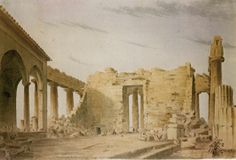1838, Interior of the Parhenon before removal of the mosque - SKENE, James